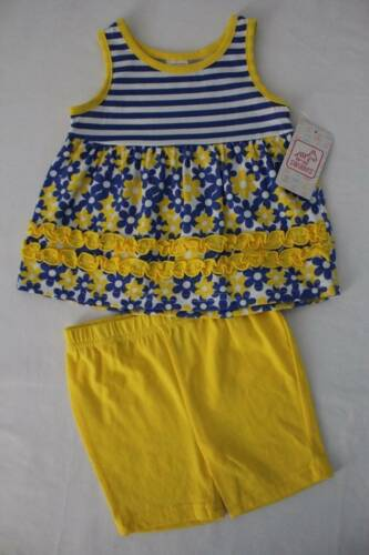 NEW Baby Girls 2 pc Set Size 6-9 Months Tank Top Shirt Blue Flowers Shorts Out