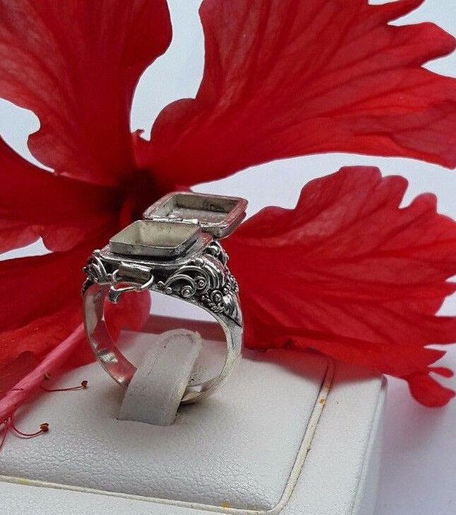 AGNES CREATIONS  BAGUE A SECRET OUVRANTE POISON EN silver & CORNALINE size 59