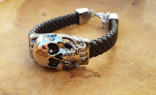 Armband Totenkopf Skull Schwarz Steampunk Gothik Lederband Runen K23.20
