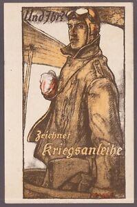 WW1-GERMAN-PILOT-LITHO-1917-PLAIN-GOGGLES-JACKET-TRANSPORTATION-POSTCARD