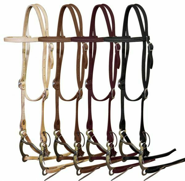 Showman Leather Horse Size BRIDLE with REINS & Grazing BIT  Made in USA