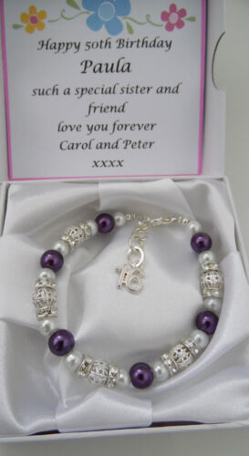 13th  Birthday Present  Ladies Girls Charm bracelet and personalised boxed