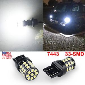 AUXITO 2X 33-SMD 7443 7440 6000K White LED Back Up Reverse Light Bulb 80W PK HID