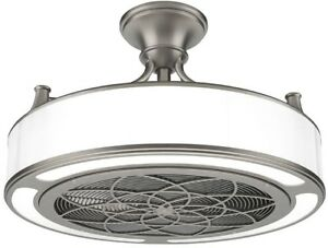 Indoor Outdoor Ceiling Fan Light Brushed Nickel Remote