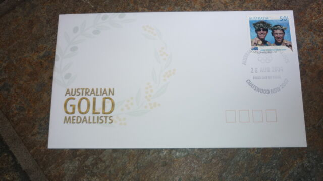 2004 AUSTRALIAN OLYMPIC GOLD MEDAL STAMP FDC, MENS ROWING TEAM CHATSWOOD PM