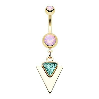 Opal Body Jewelry White Opal Sparkle Elephant Belly Ring Dangle Belly Ring Gold Belly Ring Opal Belly Rings