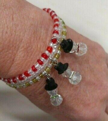 Snowman Memory Wire Charm Bracelet