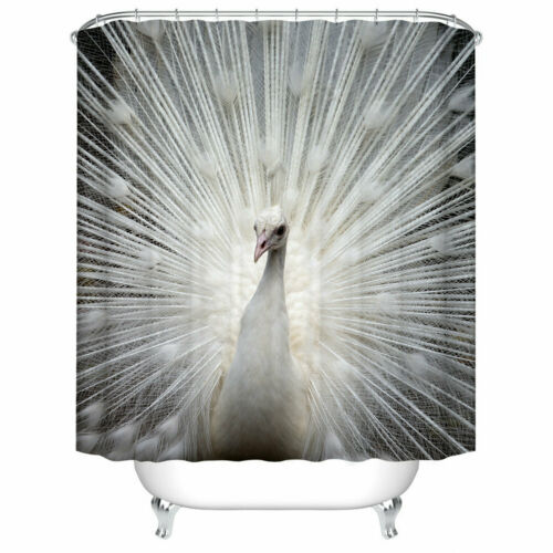 Shower Curtain Decor Art Set White Peacock Opening Design Bath Curtains 12 Hooks