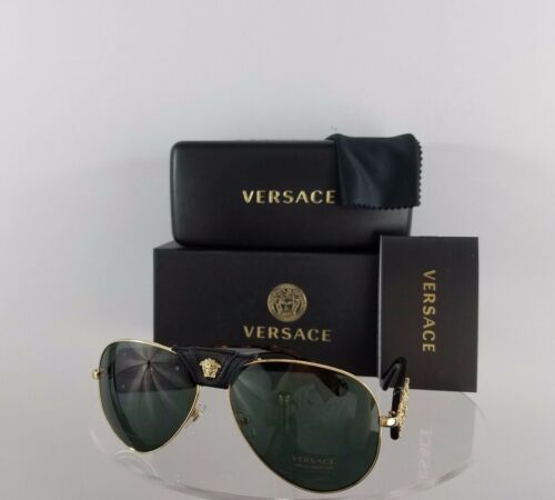 Brand New Authentic Versace 2150 1002//71 Dark Tortoise Gold leather Frame 2150-Q