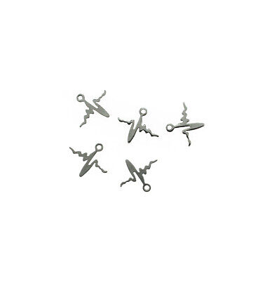 5 Flower Branch Charms Antique Silver Tone SC6331