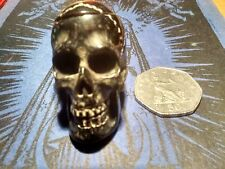 "Hand carved dyed black Bone (Bos taurus) Human Skull 4.5 cms : 1 3/4"" : from UK"