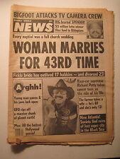 Weekly World News 1-22-1985. Richard Petty! Real Life Ghostbusters! Bigfoot!