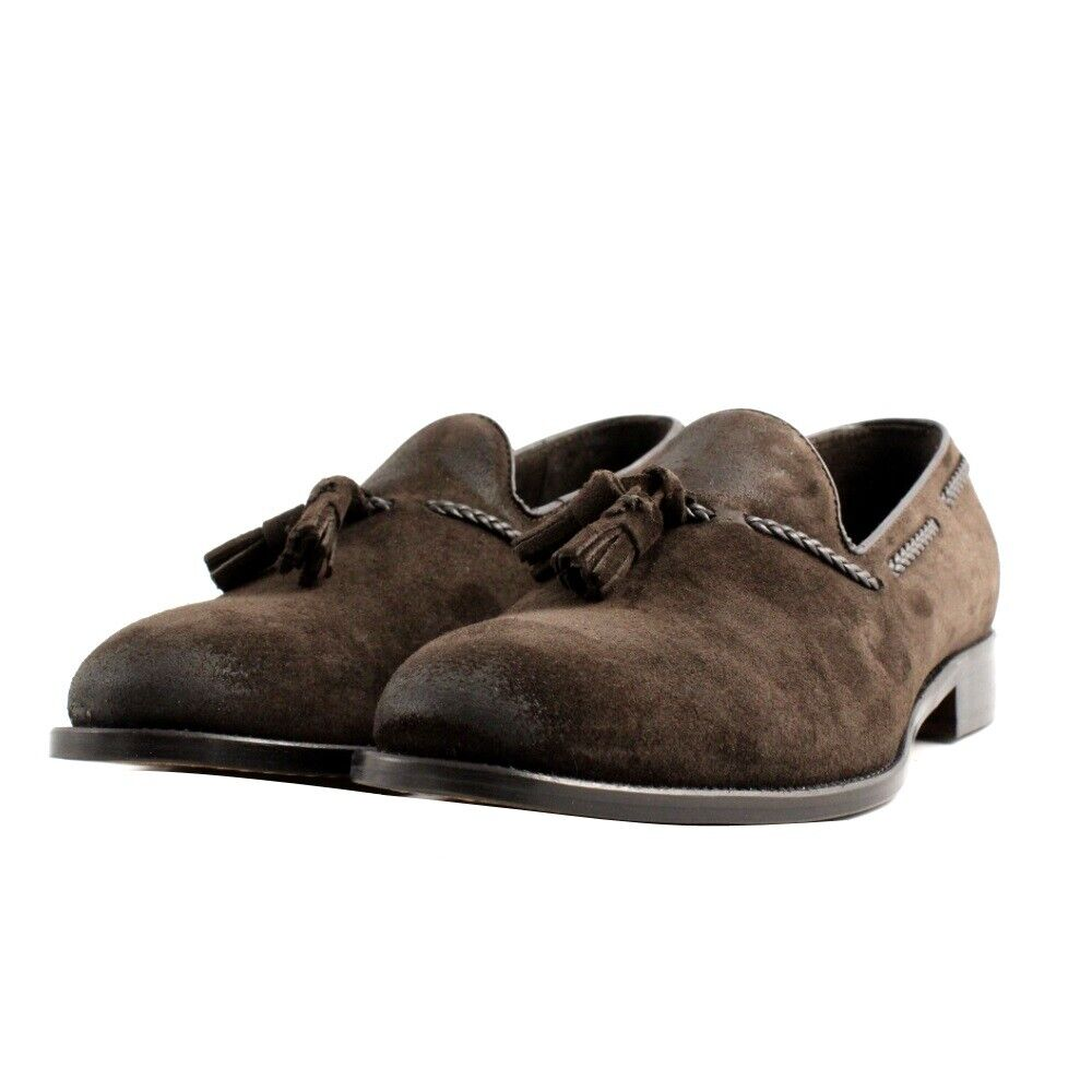 Shoes Moccasins Elegant Casual Veni Man Suede Marrone. Made IN Italy