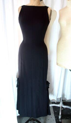 Vintage Black Crepe & Satin Bows Long Sheath Dress