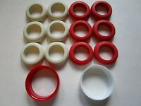 12 Bumper Pool Table Large Rubber Rings 6 White & 6 Red Ring Plus 2 Goalies