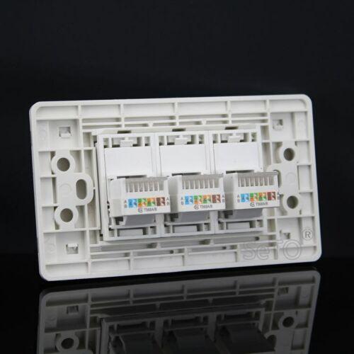 SeTo 120 Type 3 Ports RJ45 Cat5e Network Lan Panel Socket Keystone Faceplate