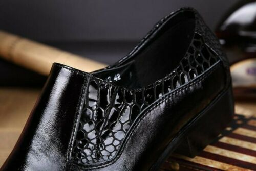 Mens Occident Slip On Pointed Toe Genuine Leather Hidden Block Wedding Shoes New