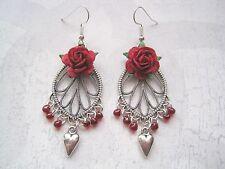 RED ROSE SP Ornate Chandelier Heart Charm SP Earrings Gift Bag Glass Beaded
