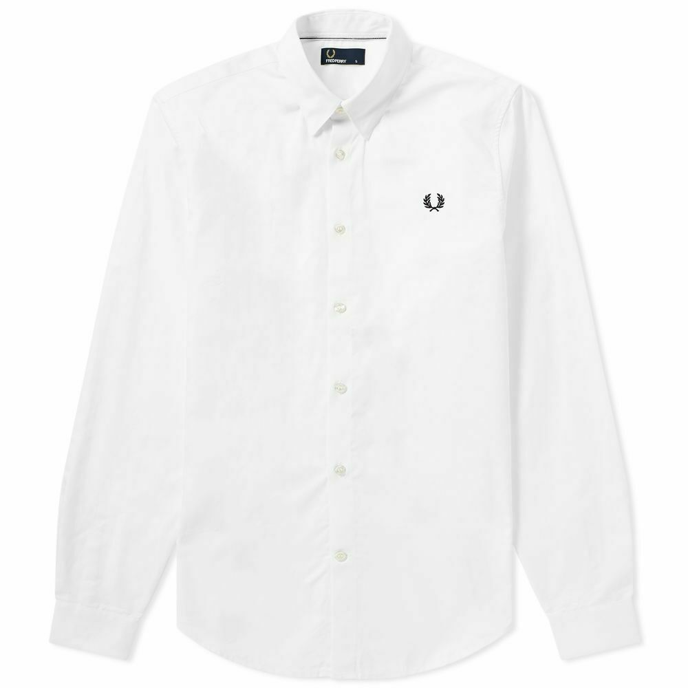 FRED PERRY MEN'S BUTTON DOWN LONG SLEEVED SHIRT IN WHITE    BNWT