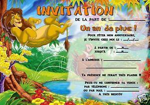 Détails Sur 5 Ou 12 Cartes Invitation Anniversaire Le Roi Lion Réf 308