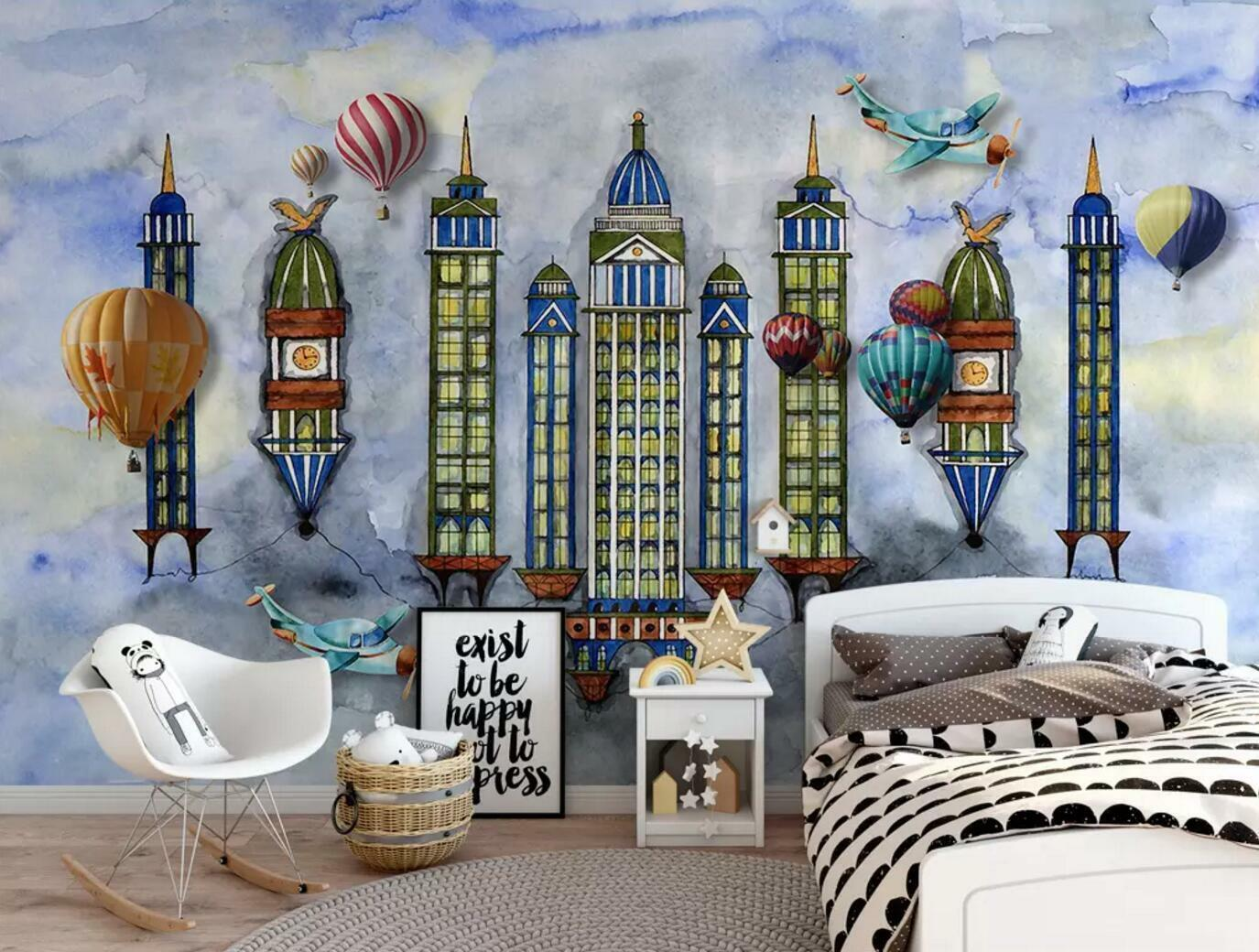 3D Aerial Buildings 6 Wall Paper Exclusive MXY Wallpaper Mural Decal Indoor wall