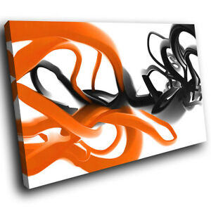 Details About Ab1022 Orange Black White Modern Abstract Canvas Wall Art Large Picture Prints