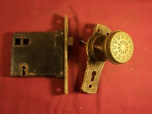 Antique-Mortise-Door-Lock-Knob-and-Escutcheon-Eastlake-Hardware-Old-Rare-Push
