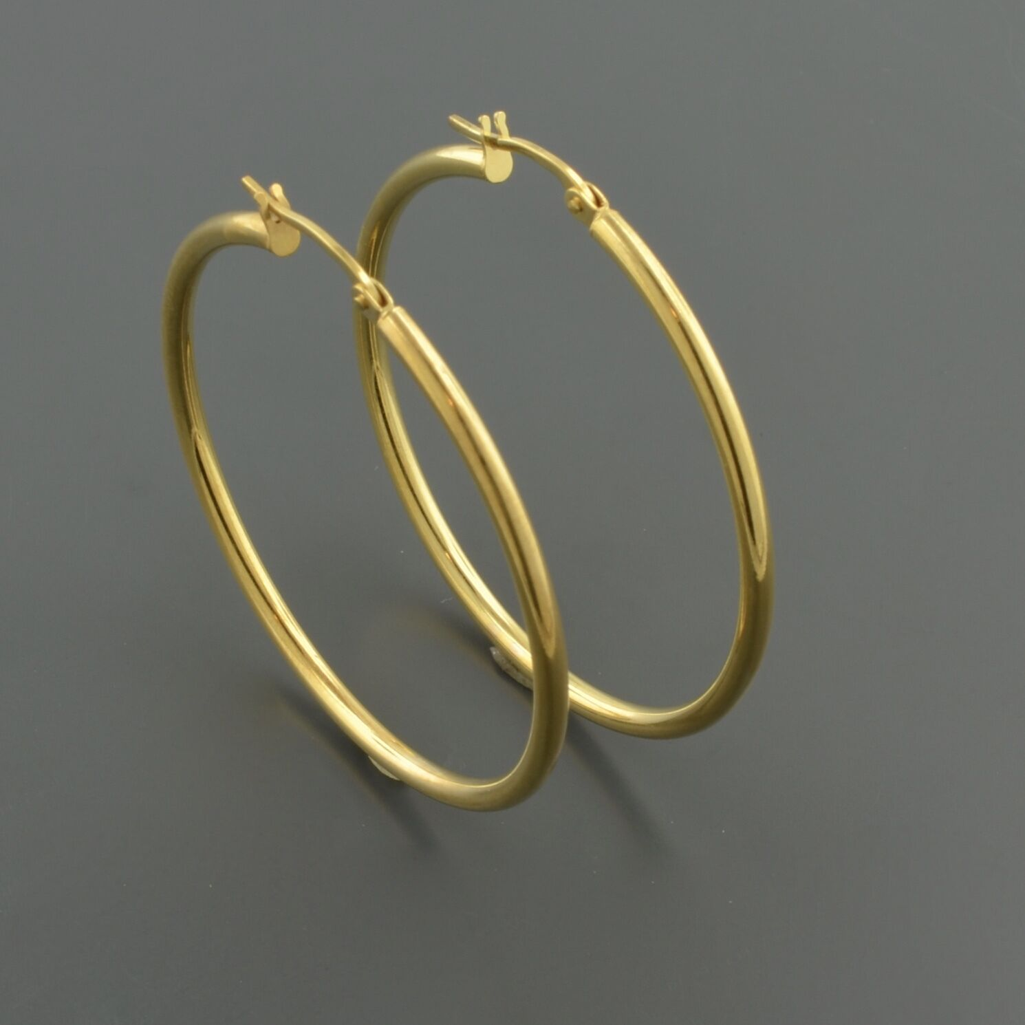 14K YELLOW gold 2X35MM HIGH POLISHED HOOP EARRINGS