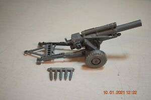 Vintage-Marx-Army-Combat-Set-6017-Silver-Firing-Howitzer-Cannon-With-Shells