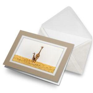 Greetings-Card-Biege-Fun-Giraffe-African-Wild-Animal-21592