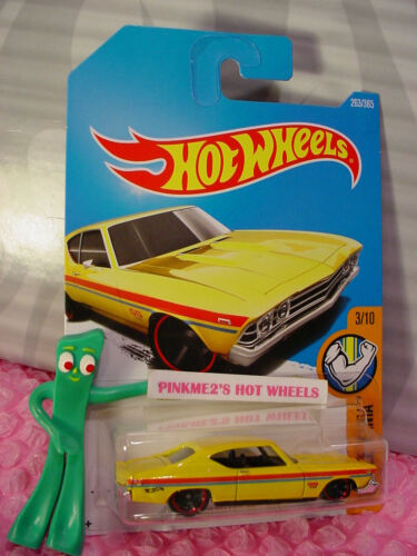 69 CHEVELLE SS 396 #263✰yellow;red mc5✰MUSCLE MANIA✰2017 i Hot Wheels case L//M
