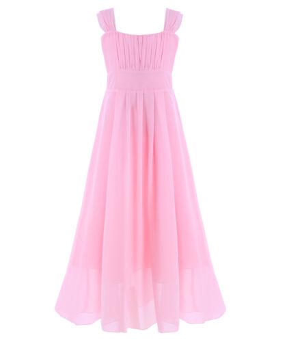 UK Girls Princess Dress Gown Party Formal Wedding Bridesmaid Maxi Pageant Dress