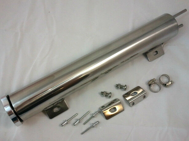 "2"" x 13""  2x13 Polished Stainless Steel 18 oz Radiator Over Flow Tank SBC BBC V8"
