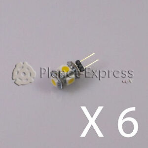 6-x-Bombilla-G4-5-Led-SMD-Blanco-Calido-80-Lumen-12V-DC-caravana-barco-coche
