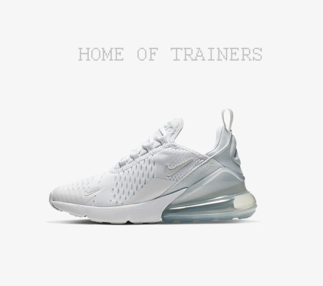 timeless design 92dcc 3f2a8 Nike Air Max 270 White Metallic Silver White Kids Boys Girls Trainers