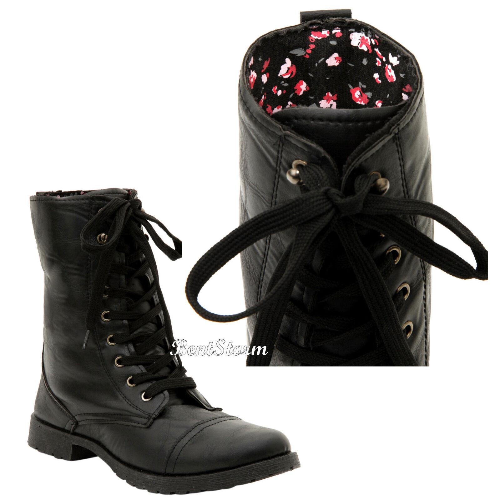 botas de Combate Negro Vintage Floral rosados para Mujer Mujer Mujer Zapatos De Cordones 6-10 Hot Topic  se descuenta
