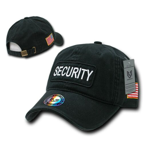 Black Security Officer Guard American Flag Polo Washed Cotton Baseball Cap Hat