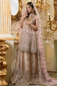 Indian-Pakistani-Salwar-Kameez-Suit-Dress-Party-Wedding-Designer-Gold-Pink