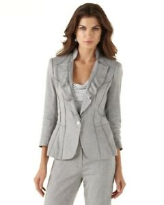 White-House-Black-Market-Ruffle-Lapel-Blazer-Suit-Jacket-Women-039-s-Size-10
