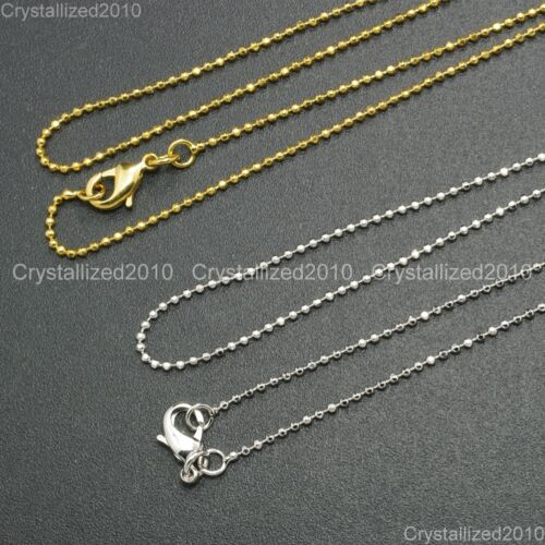 """Shining 18K Silver Gold Plated Round Ball Necklace Chain With Lobster Clasp 17/"""""""