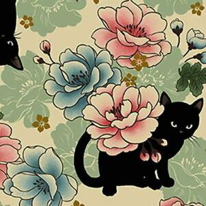 Quilt Gate Hyakka Ryoran Neko Cat HR3110Y-11A Cream/Beige w/Gold Metallic BTY