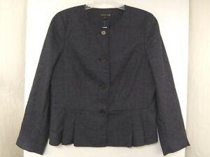 Ann-Taylor-Tall-Womens-14T-Navy-Button-Front-Peplum-Jacket-Blazer-NWT-189