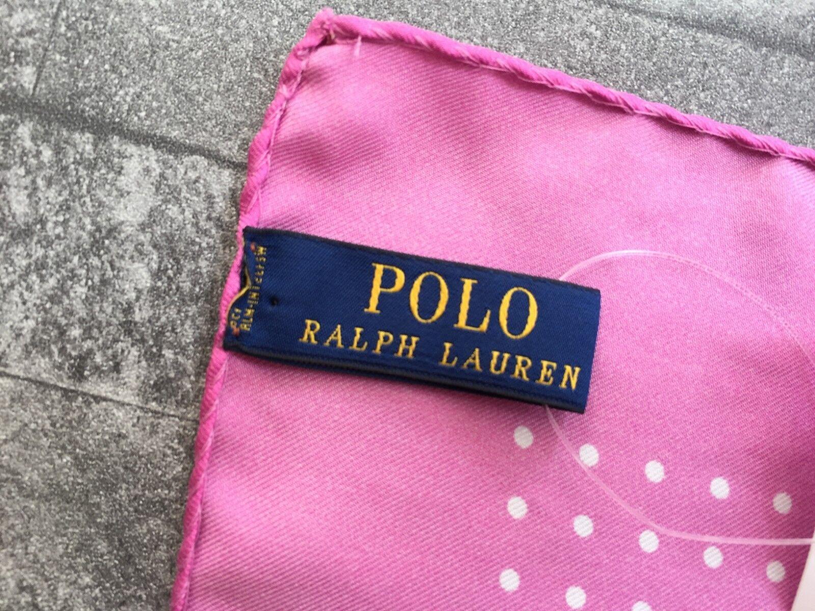 RALPH LAUREN Rosa Gepunktet Seide Einstecktuch Einzelhandel Neu mit Etikett