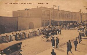 GA~GEORGIA~ATHENS~COTTON MARKET ON BROAD STREET~RARE~EARLY~PC7321