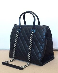 Details About Chanel Calfskin Leather Tote Work Bag Black