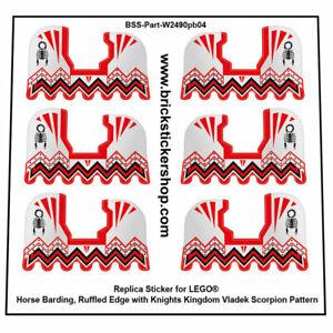 Precut Custom Stickers voor Lego Horse Barding, Ruffled Edge with Knights Kingdo