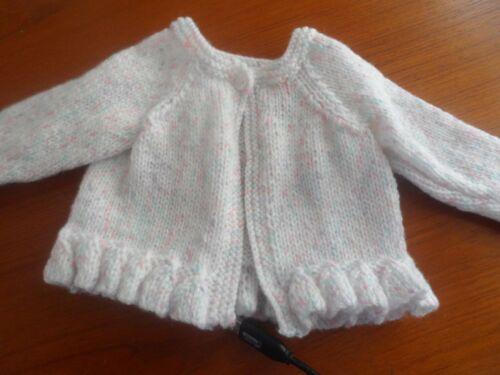 """Hand knitted round neck frill cardigan white with fleck  10.25/""""-18/"""""""