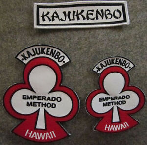 LOT-OF-3-KAJUKENBO-HAWAII-MARTIAL-ARTS-PATCHES-WHITE-BACKGROUND