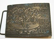 ORIGINAL Vintage Active Member of the 1 Mile High Club Hippie Weed Belt Buckle
