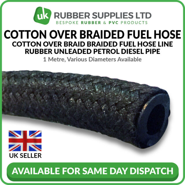 1M Cotton Overbraided Fuel Hose Tube 7mm OD x 3.2mm ID